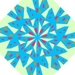 Starburst Shapes Large Circle Green Blue Red Orange Circle Hook Handle Umbrellas (Medium)