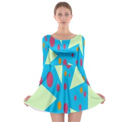 Starburst Shapes Large Circle Green Blue Red Orange Circle Long Sleeve Skater Dress