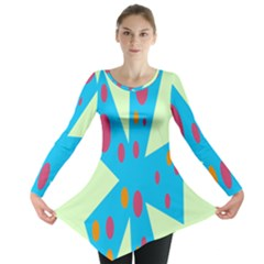 Starburst Shapes Large Circle Green Blue Red Orange Circle Long Sleeve Tunic