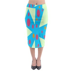 Starburst Shapes Large Circle Green Blue Red Orange Circle Midi Pencil Skirt