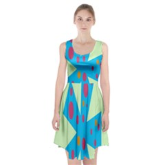Starburst Shapes Large Circle Green Blue Red Orange Circle Racerback Midi Dress