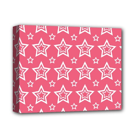 Star Pink White Line Space Deluxe Canvas 14  x 11
