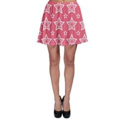 Star Pink White Line Space Skater Skirt