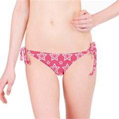 Star Pink White Line Space Bikini Bottom