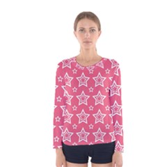 Star Pink White Line Space Women s Long Sleeve Tee
