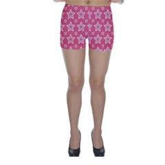 Star Pink White Line Space Skinny Shorts