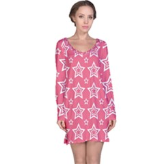Star Pink White Line Space Long Sleeve Nightdress