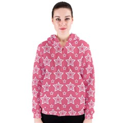 Star Pink White Line Space Women s Zipper Hoodie