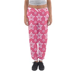 Star Pink White Line Space Women s Jogger Sweatpants