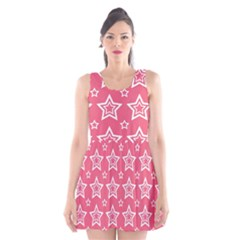 Star Pink White Line Space Scoop Neck Skater Dress