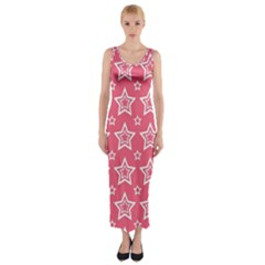 Star Pink White Line Space Fitted Maxi Dress