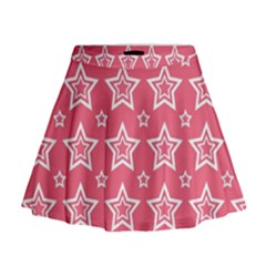 Star Pink White Line Space Mini Flare Skirt