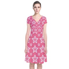 Star Pink White Line Space Short Sleeve Front Wrap Dress