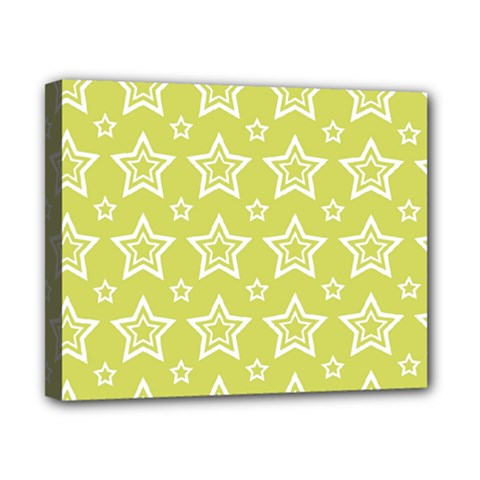Star Yellow White Line Space Canvas 10  x 8