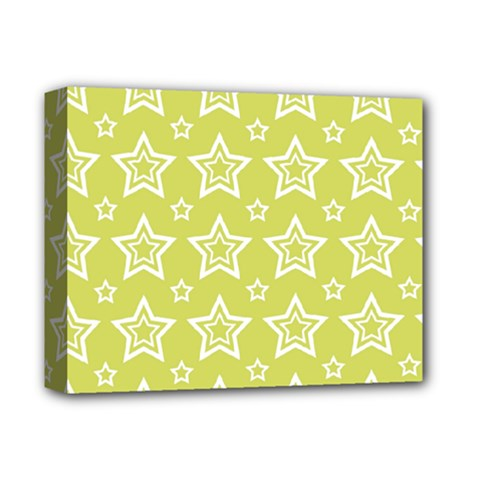 Star Yellow White Line Space Deluxe Canvas 14  x 11
