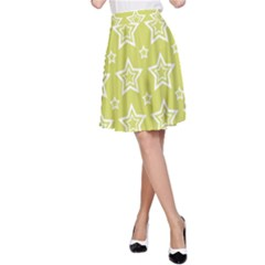 Star Yellow White Line Space A-Line Skirt