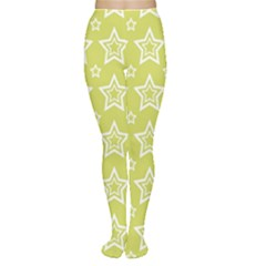 Star Yellow White Line Space Women s Tights