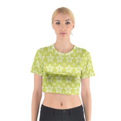 Star Yellow White Line Space Cotton Crop Top
