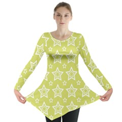 Star Yellow White Line Space Long Sleeve Tunic