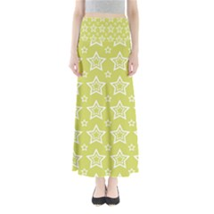 Star Yellow White Line Space Maxi Skirts