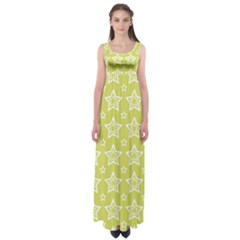 Star Yellow White Line Space Empire Waist Maxi Dress
