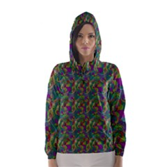 Pattern Abstract Paisley Swirls Hooded Wind Breaker (women)
