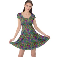 Pattern Abstract Paisley Swirls Cap Sleeve Dresses