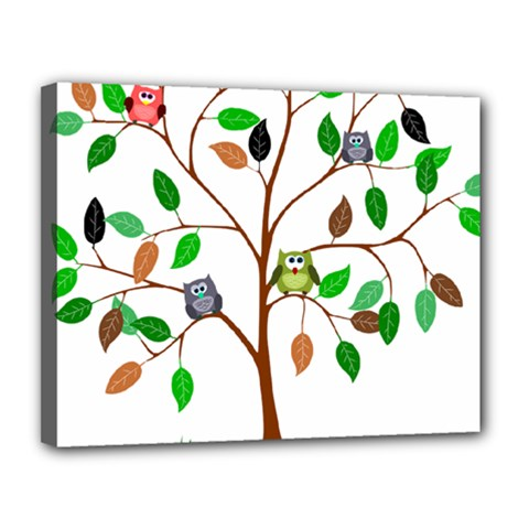Tree Root Leaves Owls Green Brown Canvas 14  X 11