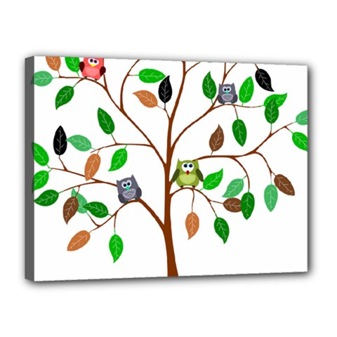 Tree Root Leaves Owls Green Brown Canvas 16  x 12
