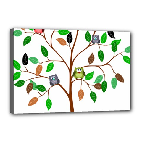 Tree Root Leaves Owls Green Brown Canvas 18  X 12
