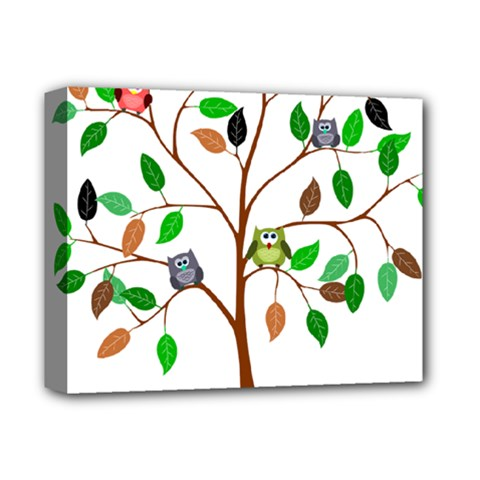 Tree Root Leaves Owls Green Brown Deluxe Canvas 14  X 11