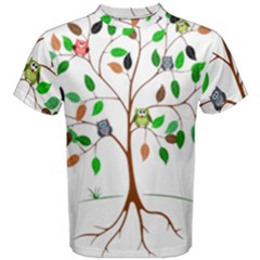 Tree Root Leaves Owls Green Brown Men s Cotton Tee