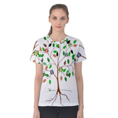 Tree Root Leaves Owls Green Brown Women s Cotton Tee
