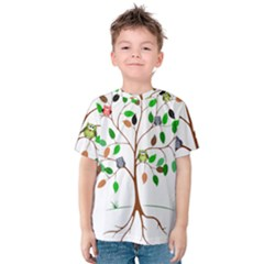 Tree Root Leaves Owls Green Brown Kids  Cotton Tee