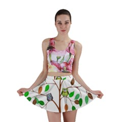 Tree Root Leaves Owls Green Brown Mini Skirt