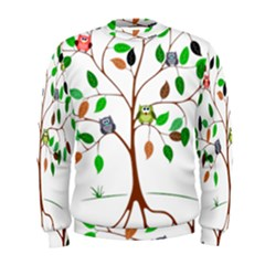 Tree Root Leaves Owls Green Brown Men s Sweatshirt