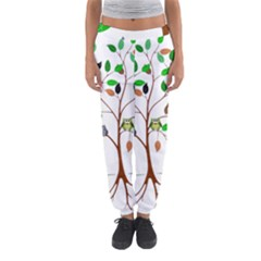 Tree Root Leaves Owls Green Brown Women s Jogger Sweatpants
