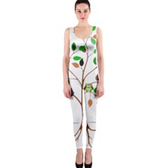 Tree Root Leaves Owls Green Brown Onepiece Catsuit