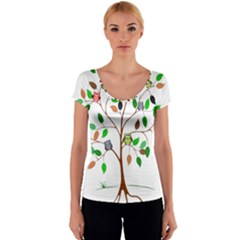 Tree Root Leaves Owls Green Brown Women s V-Neck Cap Sleeve Top