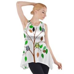 Tree Root Leaves Owls Green Brown Side Drop Tank Tunic