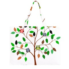 Tree Root Leaves Owls Green Brown Large Tote Bag