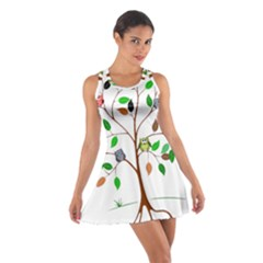 Tree Root Leaves Owls Green Brown Cotton Racerback Dress