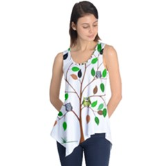 Tree Root Leaves Owls Green Brown Sleeveless Tunic