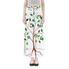 Tree Root Leaves Owls Green Brown Maxi Skirts