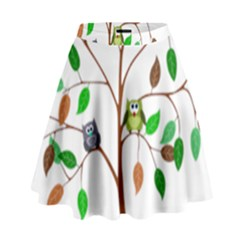 Tree Root Leaves Owls Green Brown High Waist Skirt