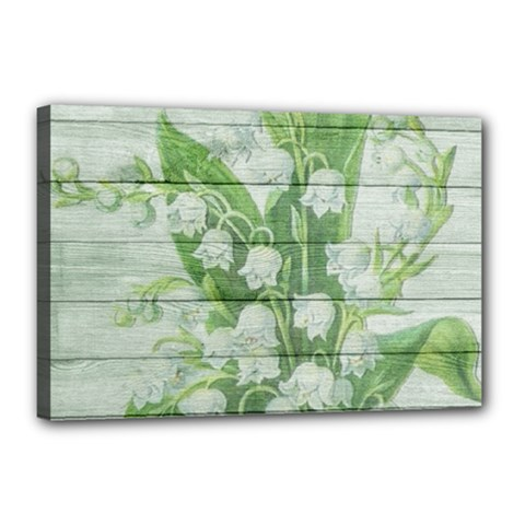 On Wood May Lily Of The Valley Canvas 18  x 12