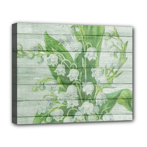 On Wood May Lily Of The Valley Deluxe Canvas 20  X 16