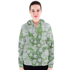On Wood May Lily Of The Valley Women s Zipper Hoodie