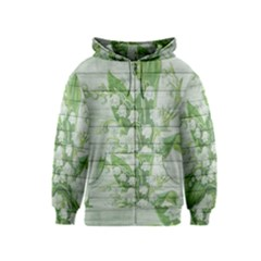 On Wood May Lily Of The Valley Kids  Zipper Hoodie