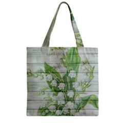 On Wood May Lily Of The Valley Zipper Grocery Tote Bag
